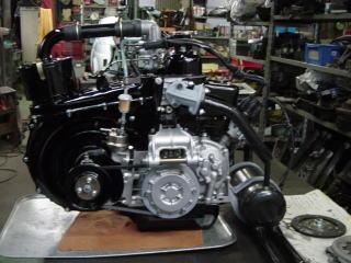 お待たせしました。オンタリオSS製、ウエットブラスト仕上げのスペシャルエンジンの出来上がり。